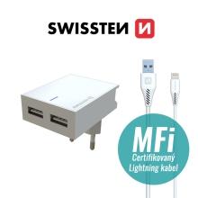 2v1 nabíjecí sada SWISSTEN pro Apple zařízení - EU adaptér (2x USB) a kabel MFi Lightning 1,2m - bílá
