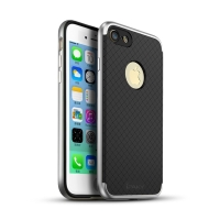Kryt IPAKY pro Apple iPhone 7 / 8 gumový / stříbrný plastový rámeček - černý