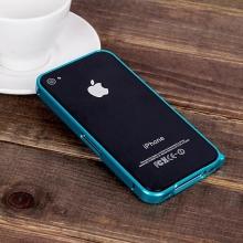 Ochranný ultra tenký hliníkový rámeček / bumper LOVE MEI (tl. 0,7 mm) pro Apple iPhone 4 / 4S - světle modrý
