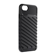 Kryt FORCELL Thunder pro Apple iPhone 7 / 8 / SE (2020) - šikmé pruhy - gumový - černý