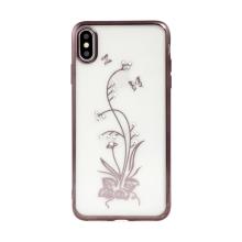 Kryt BEEYO pro Apple iPhone Xs Max - s kamínky - gumový - květina - průhledný / hnědý