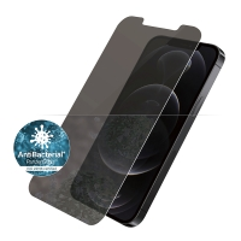 Tvrzené sklo (Tempered Glass) PANZERGLASS pro Apple iPhone 12 / 12 Pro - privacy - antibakteriální - 0,4mm