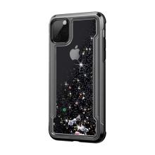 Kryt pro Apple iPhone 11 Pro - lesklý rámeček + pohyblivé třpytky - plastový / gumový - černý