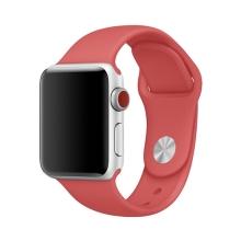 Řemínek pro Apple Watch 44mm Series 4 / 5 / 6 / SE / 42mm 1 / 2 / 3 - velikost S / M - silikonový - světle červený