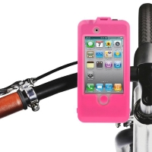 Speciální otočný voděodolný držák na kolo pro Apple iPhone 4 / 4S - růžový