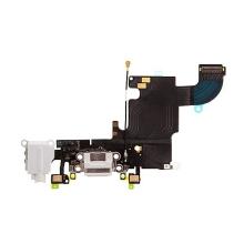 Napájecí a datový konektor s flex kabelem + audio konektor jack + GSM anténa + mikrofony pro Apple iPhone 6S - bílý - kvalita A+