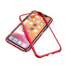 Kryt pro Apple iPhone 11 - 360° ochrana - magnetické uchycení - skleněný / kovový - červený