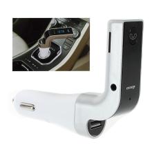 FM transmitter / vysílač + autonabíječka USB + Bluetooth handsfree - LED displej - stříbrný