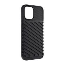 Kryt FORCELL Thunder pro Apple iPhone 12 / 12 Pro - šikmé pruhy - gumový - černý