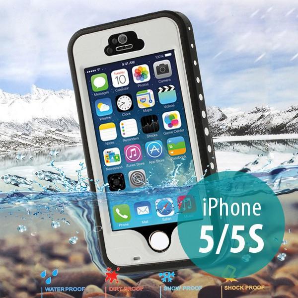 Voděodolné plastové pouzdro Redpepper pro Apple iPhone 5 / 5S / SE s podporou funkce Touch ID + poutko na ruku - bílé