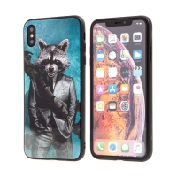 Kryt MARVEL pro Apple iPhone Xs Max - Rocket - sklo / guma