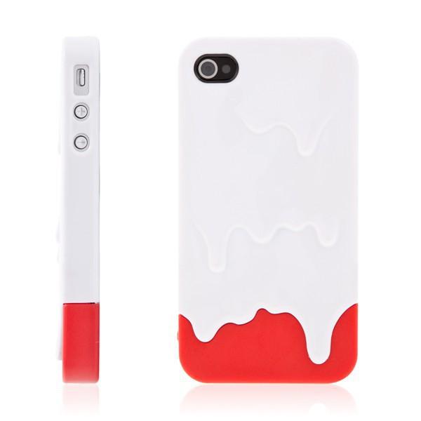 Plastový kryt pro Apple iPhone 4 / 4S - tající zmrzlina - bílo-červený