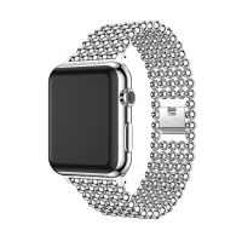 Řemínek pro Apple Watch 40mm Series 4 / 5 / 6 / SE / 38mm 1 / 2 / 3  - kuličky - zinkový - stříbrný