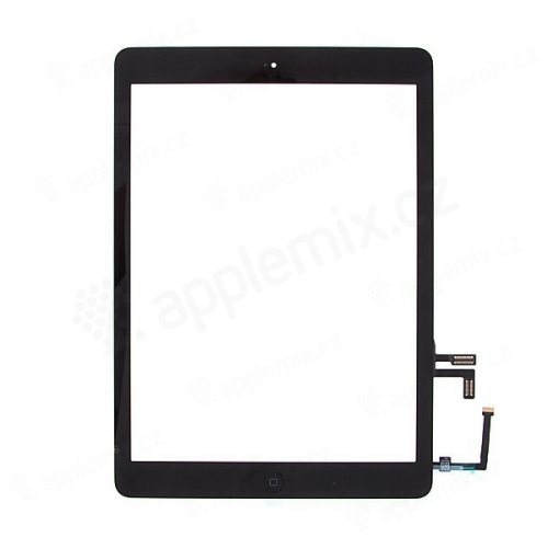 Přední dotykové sklo (touch screen) s flex kabelem a Home Buttonem pro Apple iPad Air 1.gen. - černý rámeček