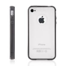 Ochranný plasto-gumový kryt pro Apple iPhone 4 / 4S - matný průhledný s šedým rámečkem