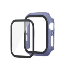 Tvrzené sklo + matný rámeček pro Apple Watch 44mm Series 4 / 5 / 6 / SE - fialový