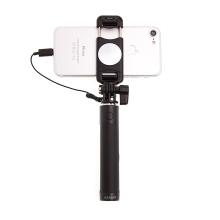 Selfie tyč / monopod USAMS - kabelová spoušť s lightning konektorem + zrcátko