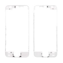 Plastový rámeček předního panelu pro Apple iPhone 5S / SE - bílý - kvalita A