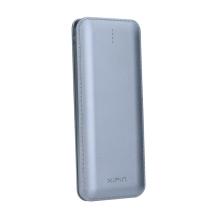 Externí baterie / power bank Xipin 12000mAh - kabel micro USB / redukce Lightning - stříbrná