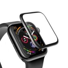 Tvrzené sklo (Tempered Glass) BASEUS pro Apple Watch 44mm Series 4 / 5 / 6 / SE- 3D okraj - černé / čiré