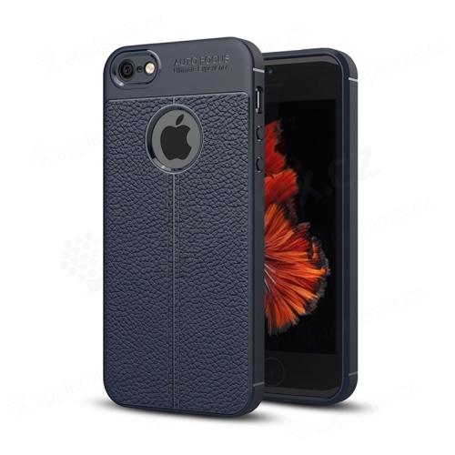Kryt pro Apple iPhone 5   5S   SE - gumový   textura kůže - modrý ... 3b89d12b508