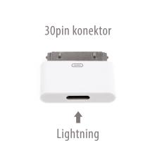 Přepojka / redukce Lightning samice - 30 pin samec pro Apple iPhone / iPad - bílá