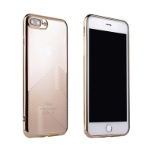 Kryt SULADA pro Apple iPhone 7 Plus / 8 Plus - gumový - průhledný / zlatý