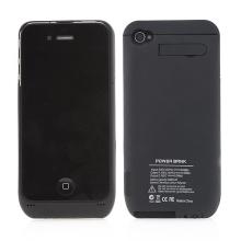 Externí baterie s plastovým krytem, stojánkem a USB portem pro Apple iPhone 4 / 4S - 3000 mAh - černá