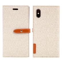 Pouzdro Mercury Milano Diary pro Apple iPhone X - látková textura - béžové
