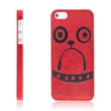 Ochranný plastový kryt pro Apple iPhone 5 / 5S / SE - buldok drsňák - červený s kapkami