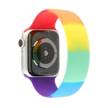 Řemínek pro Apple Watch 44mm Series 4 / 5 / 6 / SE / 42mm 1 / 2 / 3 - bez spony - L - silikonový - duhový