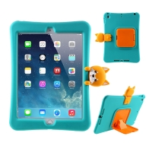 "Pouzdro pro Apple iPad 10,2"" (2019 - 2020) - stojánek - silikonové - zelené - pes Corgi"