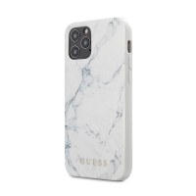 Kryt GUESS Marble pro Apple iPhone 12 / 12 Pro - plastový / gumový - mramorový - bílý