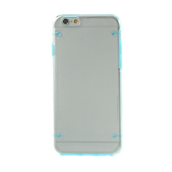 Plasto-gumový kryt pro Apple iPhone 6 / 6S - průhledný + modrý rámeček