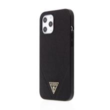 Kryt GUESS Safiiano V pro Apple iPhone 12 Pro Max - umělá kůže - černý