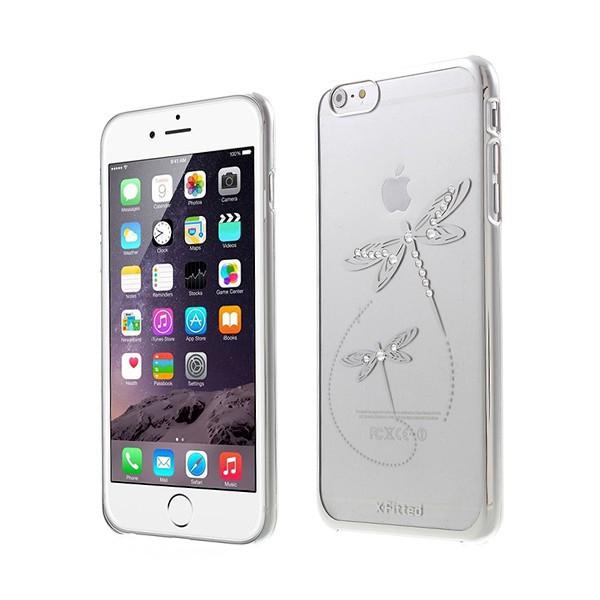 Plastový kryt X-FITTED pro Apple iPhone 6 Plus / 6S Plus - průhledný + stříbrný rámeček - vážky zdobené kamínky Swarovski