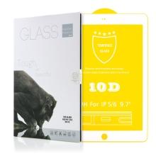 """Tvrzené sklo (Tempered Glass) pro Apple iPad Air 1 / 2 / Pro 9,7"""" / 9,7"""" (2017-2018) - 2,5D - bílý rámeček - čiré"""