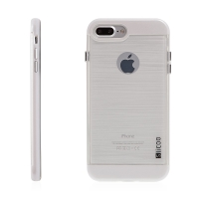 Kryt SLiCOO pro Apple iPhone 7 Plus / 8 Plus gumový / bílý plastový rámeček - broušený vzor - průhledný
