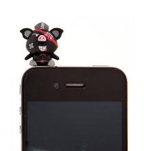 Antiprachová záslepka na jack konektor pro Apple iPhone a další zařízení - pirate pig - černá