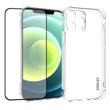 Kryt + tvrzené sklo 2,5D ENKAY pro Apple iPhone 13 Pro - zesílené rohy - gumový - průhledný