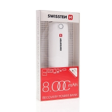 Externí baterie / power bank SWISSTEN 8000mAh s 1x USB portem (1A) a LED svítilna - bílá