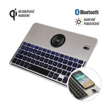 Bezdrátová klávesnice bluetooth 3.0 s LED podsvícením a bezdrátovým nabíjením Qi