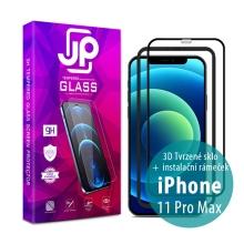 Tvrzené sklo JP pro Apple iPhone 11 Pro Max - Case Friendly + aplikátor - černý rámeček