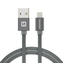 Synchronizační a nabíjecí kabel SWISSTEN - MFi Lightning pro Apple zařízení - tkanička - šedý - 2m
