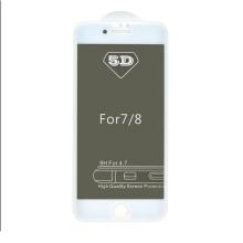 """Tvrzené sklo (Tempered Glass) """"5D"""" pro Apple iPhone 7 / 8 - 3D - bílý rámeček - privacy - 0,3mm"""