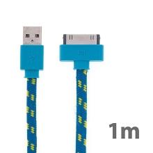 Synchronizační a nabíjecí kabel s 30pin konektorem pro Apple iPhone / iPad / iPod - tkanička - plochý modrý - 1m