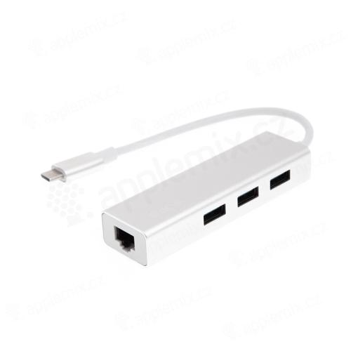 Rozbočovač / hub DEVIA pro Apple MacBook Air / Pro - USB-C na 3x USB-A 3.0 + RJ45