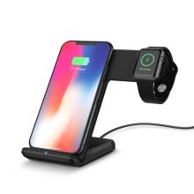 Stojánek / bezdrátová nabíječka Qi 2v1 - Apple iPhone / AirPods s Qi + Watch - pevný - černý