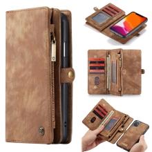 Pouzdro CASEME pro Apple iPhone 11 - peněženka + odnímatelný kryt na telefon - prostor na doklady - hnědé