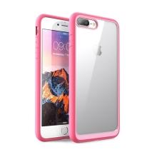 Kryt pro Apple iPhone 7 Plus / 8 Plus - odolné hrany - plastový / gumový - průhledný / růžový